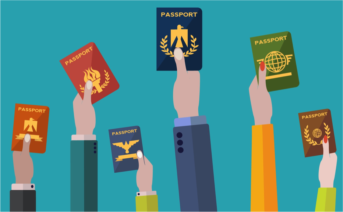 graphic of hands holding various passports